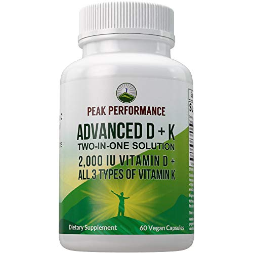 Advanced Vitamin D 2000 IU with All 3 Types of Vitamin K by Peak Performance. Vitamin D3 and Vitamin K2, K1, MK-7 (MK7), MK4 Supplements. 60 Small and Easy to Swallow Vegetable Pills (2000 IU)