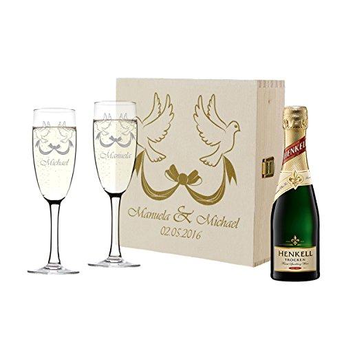 polar-effekt 2 copas de champán y botella de champán en caja de regalo personalizable, regalo de boda, juego de copas de champán con grabado – diseño de palomas