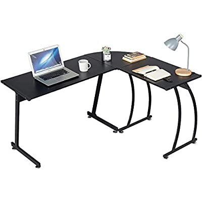 Topeakmart L-Shaped Corner Computer Desk Writing Table for Office Home, Wood Large 3-Piece PC Laptop Table Workstation, Black from Topeakmart