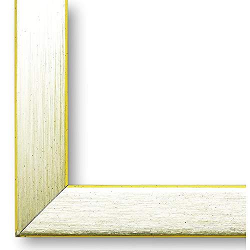 Online Galerie Bingold Bilderrahmen Erlangen Silber, Kante Gelb 2,0 I 40 x 50 cm als Leerrahmen (LR) I handgefertigte Holz Fotorahmen I Leerrahmen Holz I inkl. Montagematerial