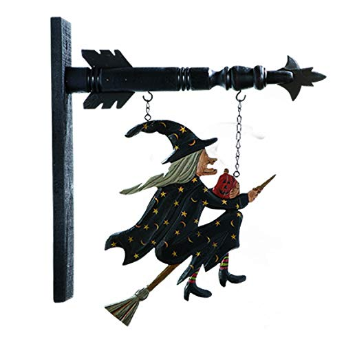 Flying Witch on Broomstick Hanging Halloween Props