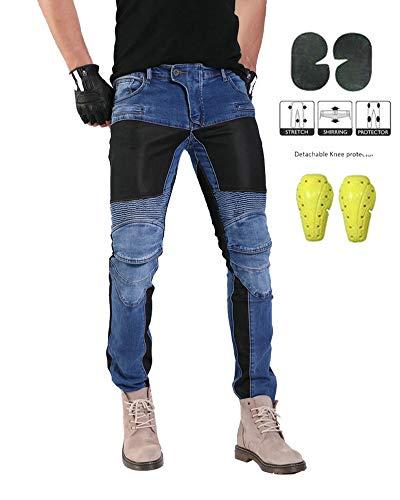 GELing Jeans da Moto da Uomo Kevlar Motociclista Pantoloni Rinforzati con Protettivo Armours,Blu,2XL