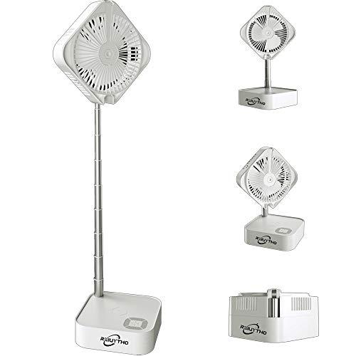 REIUYTHO Ventilador de pie ajustable de altura, ventilador de plegado de aire de base medio inteligente, carga de teléfono móvil inalámbrico, carga USB incorporada, ventilador de piso retráctil portát