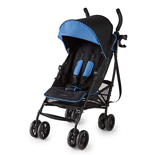 Summer 3Dlite+ Convenience Stroller, Blue/Matte Black – Lightweight Umbrella Stroller with Oversized Canopy, Extra-Large Storage and Compact Fold