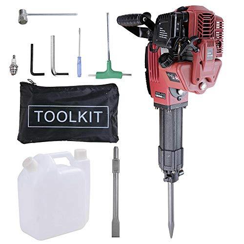 52CC Gasoline Demolition Hammer, 2-Stroke Heavy Duty Concrete Breaker 1.7KW Jack Hammer Demolition Drills with Tool Kits 【UK in Stock】