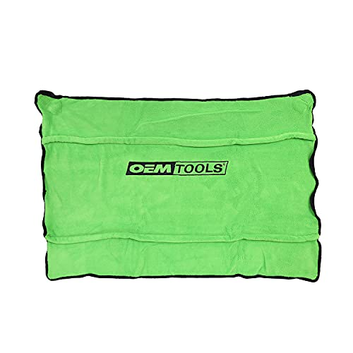 OEMTOOLS 24899 Soft Fleece Fender Cover | Protect Your Paint Job While You Work on Your Car | Fleece is Machine Washable | 42 in. x 24 in. | Green