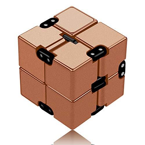 Funxim Infinity Cube Toy para Adultos y niños, versión Nueva Fidget Finger Toy Stress y Ansiedad, Killing Time Fidget Toys Infinite Cube para Office Staff (Oro)