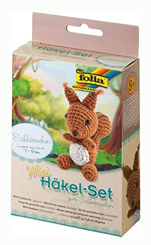folia 23909 - Mini Häkelset Eichhörnchen, Komplettset zur Erstellung von einem selbst gehäkelten niedlichen Eichhörnchen, ca. 7 - 9 cm groß, für Kinder ab 8 Jahren und Erwachsene, als Geschenk