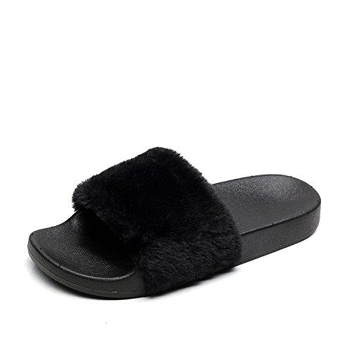 APIKA Women's Flip Flop Faux Fur Slipper Fuzzy Fluffy Comfy Sliders Open Toe Slip on(5 UK Black)