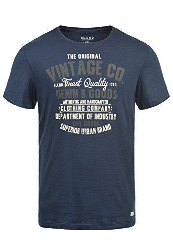 Blend Vadim Herren T-Shirt Kurzarm Shirt mit Print und Rundhalsausschnitt, Größe:L, Farbe:Mood Indigo (74648)