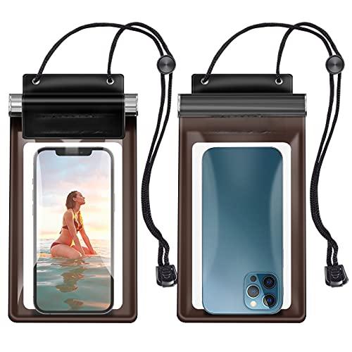 Kiteri - Funda impermeable para teléfono móvil, para natación, 2 unidades, 7 pulgadas, impermeable, para iPhone 11 12 Pro Max/12/XS Max/X, Samsung Galaxy S21/S20 FE/A12 y más transparente