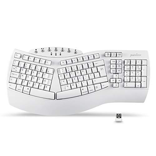 Perixx PERIBOARD-612 Wireless Ergonomic Split Keyboard with Dual Mode 2.4G and Bluetooth Features, Compatible with Windows 10 and Mac OS X System, White, QWERTY UK
