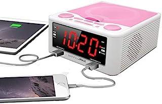 HANNLOMAX HX-300CD Top Loading CD Player, PLL FM Radio, Digital Clock, 1.2 Inches Red LED Display, Dual Alarms, Dual USB P...