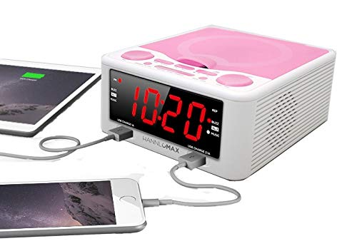 HANNLOMAX HX-300CD Top Loading CD Player, PLL FM Radio, Digital Clock, 1.2 Inches Red LED Display, Dual Alarms, Dual USB Ports for 2.1A and 1A, AC/DC Adaptor Included (White_Pink)