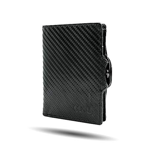 OOKLÍ Cartera para tarjetas de crédito blanda, modelo 2020, mini cartera para hombre, delgada, vertical, tarjetero, idea regalo