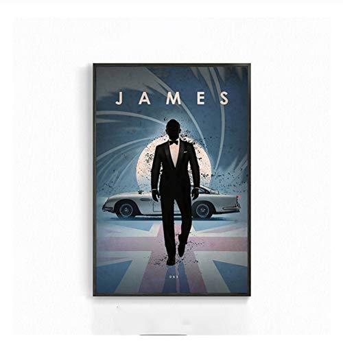 Suuyar Wandkunst Retro Leinwand Gemälde James Bond Max Classic Filmplakate und Drucke Wandbilder für Wohnzimmer Home Decor-50x70cm No Frame