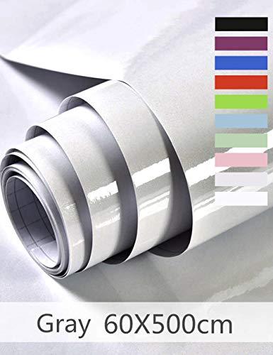 Klebefolie Möbelaufkleber Selbstklebende Folie Dekorfolie für Möbel Küche Oberflächenschutz Wasserdicht Vinyl Hochglanz Mit Glitzer 60cmX500cm (Grau)