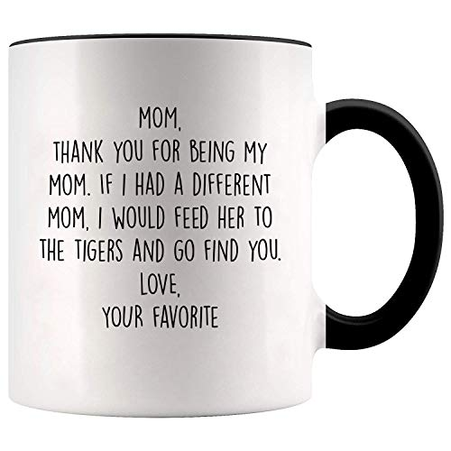 YouNique Designs Mom Mug, 11 Ounces, Tiger King, Mothers Day Gifts from Daughter or Son Mug, Mom Coffee Mug 1736 (Black Handle)