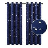 PONY DANCE Gardinen Kinderzimmer Junge - Blickdichter Vorhang Schlafzimmer Thermo Gardinen Sterne Vorhänge Blickdicht Ösenvorhang, 2 Stücke H 160 x B 132 cm, Blau