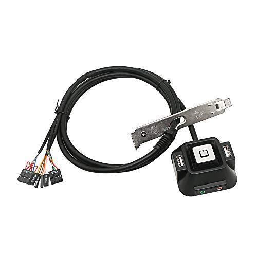 YAODHAOD Desktop PC Power Switch, Chassis Power Reset Schakelaar met dubbele USB-poorten en audio-microfoonaansluitingen, Geschikt voor Desktop Office of Internet Cafe