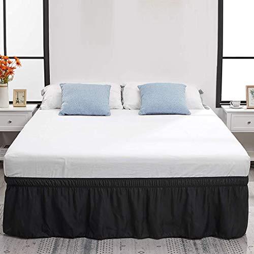 Mingtongli Caer de la Cama elástica Ajustable Falda de Cama Faldón poliéster colchón decoración artículos de Cama, 150x200 + 40, Negro