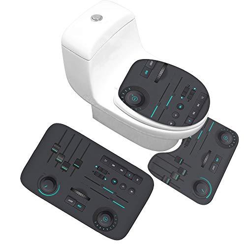 YIYA Muziek afdrukken flanel badkamer tapijt vloermat driedelige badkamer anti-slip deurmat absorberende dikke zwarte interface muziek badkamer mat kleine driedelige