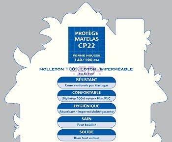 Blanc des Vosges Protège Matelas 140/190 Imperméable (Dessus 100% Coton, Dessous, Film polyuréthane)