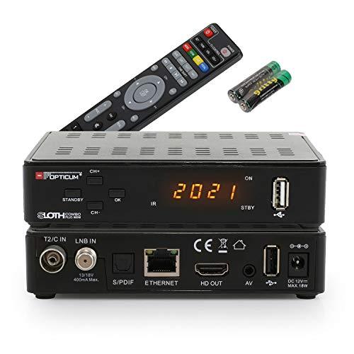 RED OPTICUM Sloth Combo Plus Mini I Ricevitore DVB-C DVB-T2 e DVB-S2 con Funzione di registrazione PVR I Combi-Receiver HD con display a LED - HDMI - S   PDIF - Ethernet - USB