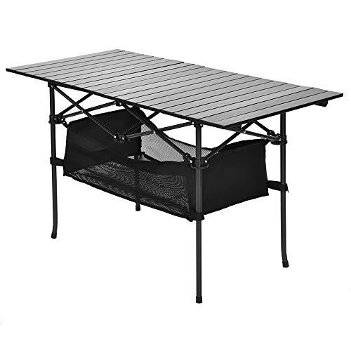 Dioche Camper-Tisch, Tischplatte aus Aluminiumlegierung, Halterung aus Eisen, zusammenklappbar, leicht, tragbar, für Camping, Picknick, Angeln, 118,2 x 54,8 x 66,8 cm
