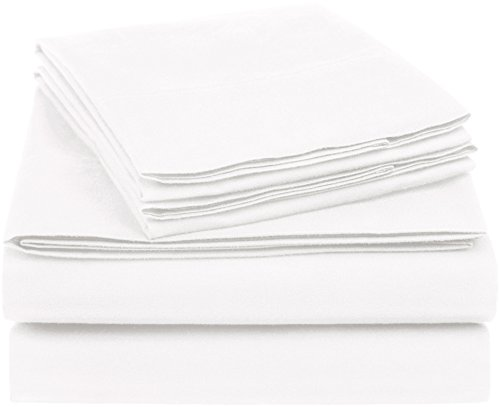 AmazonBasics Essential Cotton Blend Bed Sheet Set, King, White