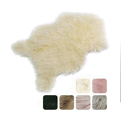 Furryvalley Teppich Öko Kunstfell Teppich Lammfell Sämischleder Imitat Bett-Vorleger Matte für Stuhl Sofa Wohnzimmer Schlafzimmer Kinderzimmer (Gelblich - 60 x 80 cm)