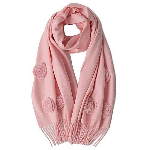 Dhmm123 Bufandas cálidas Bufanda de Las señoras Otoño e Invierno Cálido Lana Chal Decoración de la Flor Color sólido Suave Multifunción Bufanda de Cuello (Color : Pink, Size : One Size)