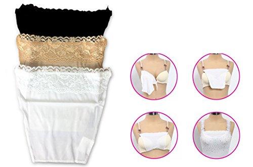 takestop® - Set met 3 decolleté-afdekkingen, clip-bevestiging aan de beha, verstelbaar, universeel, in 3 kleuren voor shirts en overhemden