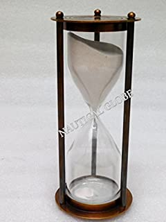 KHUMYAYAD 60 min brass sand timer brown antique finish, fully hand made vintage antique brass replica sand timer sand clock hour glass maritime nautical vint