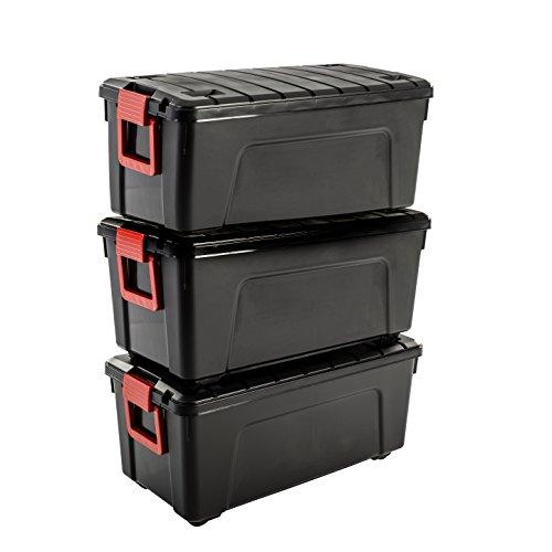 Iris Ohyama SIA-75 Store It All - Caja de Almacenamiento de Bricolaje Apilable, Plastico, 75L, Negro/Rojo, 78 x 39,5 x 35 cm, Lote de 3