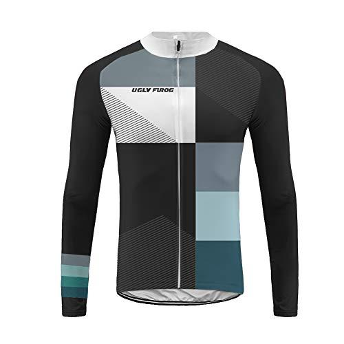 Uglyfrog Invierno Top/Winter Fleece Ropa de Bicicleta Hombre MTB Traje de Ciclismo Mangas Largas Maillot+Pantalones Equipación de Ciclista