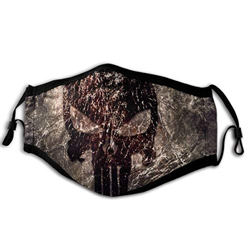 Skull Logo Punisher Fabric Canvas Face-Masks Washable Reusable Safety Masks Protection from Dust Pollen Pet Dander Other Airborne