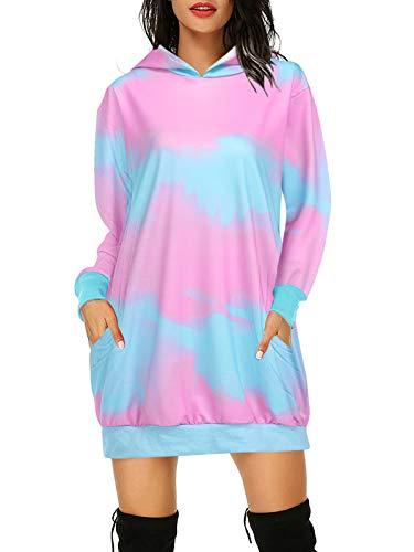 Auxo Mujer Sudadera con Capucha Talla Grande Sudadera Vestido Manga Larga Casual Tie Dye Hoodie Jersey Larga Rosado XXL