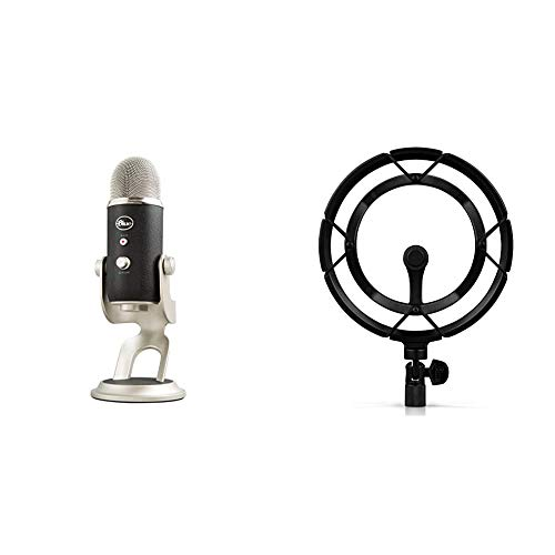 Blue Microphones Yeti - USB Microphone for Recording and streaming on PC and Mac, 3 Condenser capsules, Black/Silver & 989-000908 0243 Radius III Custom Shock Mount for Yeti and Pro USB