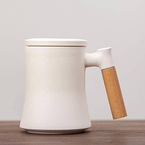 HRDZ Taza de separación de té y Agua Taza Taza de Oficina de cerámica esmerilada Taza de té Creativa con Tapa Cuchara Filtro Taza de café de té