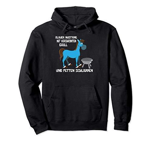 Blauer Mustang Mit Verchromtem Grill Und Fetten Schlappen Pullover Hoodie