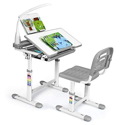 Giantex Kinderschreibtisch mit Stuhl, Kinderschreibtisch-Set mit Lampe & Buchständer, Kindertisch höhenverstellbar & neigungsverstellbar, Schülerschreibtisch Jugendschreibtisch Kinder (grau)