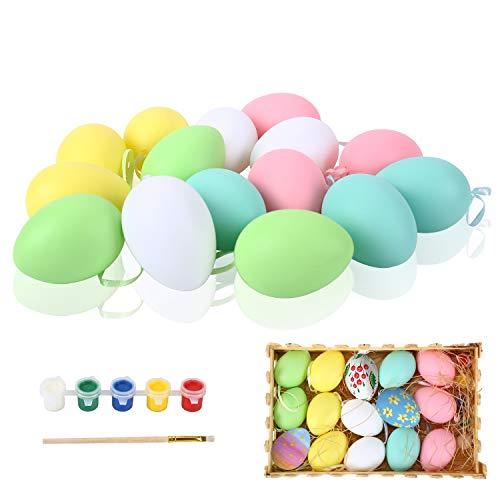 FORMIZON 15 Pezzi Uova di Pasqua, Colorate Decorazioni Pasquali, Uova di Pasqua Colori Assortiti Falso Simulazione Uova, Sagome a Forma di Uovo di Pasqua per Artigianato