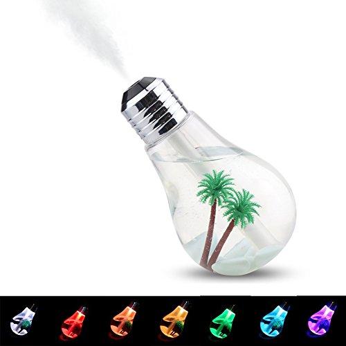 YRTECH Humidificador USB Ultrasonido 7 Color que Cambia Lámparas LED 400 ml Mini Humidificadores Luces de Escritorio Nocturno