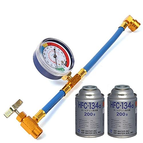 エアコン ガスチャージホース(40CM) メーター付 R134a とカーエアコン用冷媒 HFC-134a セット 日本語説明書付き (ガスチャージホース+冷媒ガス缶2本セット)