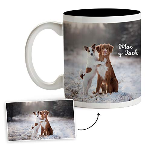 Fotoprix Tazas Personalizadas con Foto y Texto | Regalos Personalizados con Foto de Perros | Taza Personalizada con Nombre de Mascota | Taza de Color Negro