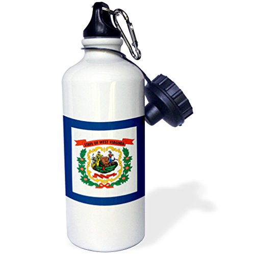 """_1""""Flag of West Virginia WV-US American United State of America USA. Farmer miner coat of arms wreath"""" Sports Water Bottle, 21 oz, White - 3dRose wb_159829"""