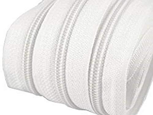 10m Reißverschluss endlos 3mm spiralförmig + 30 Zipper #101 weiss(0,79€/m)