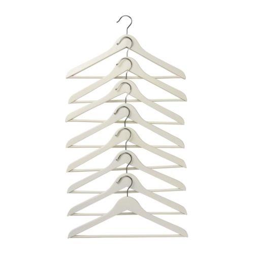 Ikea Bumerang-Kleiderbügel aus Holz, gebogen, Weiß