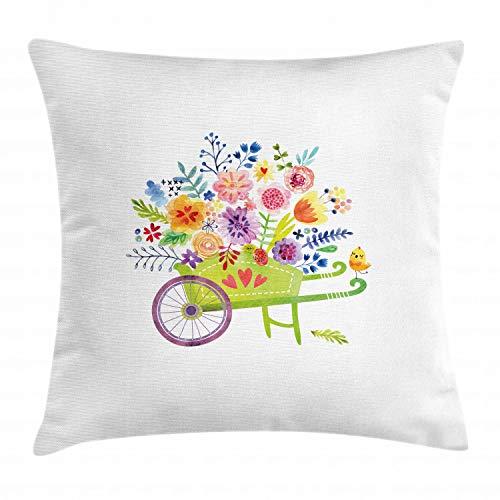 ABAKUHAUS bloemen Sierkussensloop, kruiwagen Bloemen, Decoratieve Vierkante Hoes voor Accent Kussen, 40 cm x 40 cm, Veelkleurig